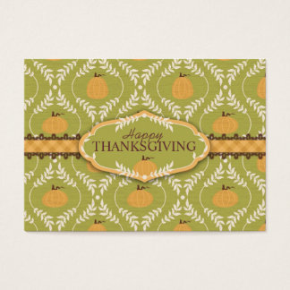 Elegant Pumpkin Damask Print for Thanksgiving Business Card
