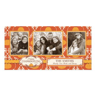 Elegant Pumpkin Damask Print for Thanksgiving Card