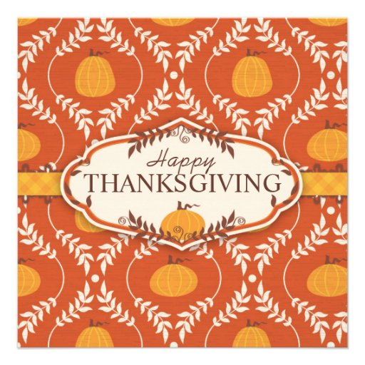 Elegant Pumpkin Damask Print for Thanksgiving Custom Announcements