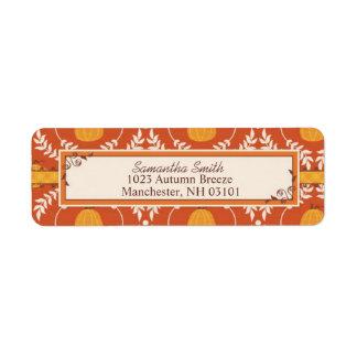 Elegant Pumpkin Damask Print for Thanksgiving Labels