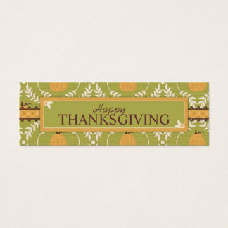 Elegant Pumpkin Damask Print for Thanksgiving Mini Business Card