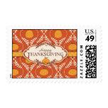Elegant Pumpkin Damask Print for Thanksgiving Stamp