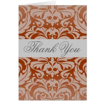 Professional Business Elegant Pumpkin Damask  Ribbon Thank You Card