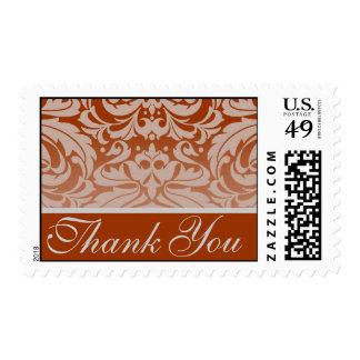 Elegant Pumpkin Damask Thank You Postage Stamp