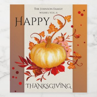 Elegant Pumpkin Fall Leaves Thanksgiving Wine Label