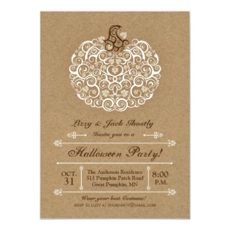 Elegant Pumpkin Halloween Party Invitation