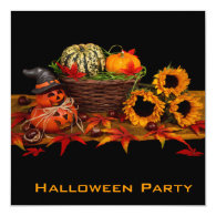 elegant pumpkin halloween party invitation square