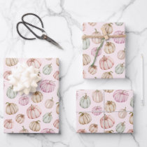Elegant Pumpkins Pink Girl Baby Shower Wrapping Paper Sheets