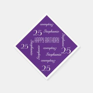 Elegant Purple 25th Birthday Party Repeating Names Paper Napkin