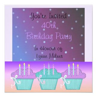 Elegant Purple 40th Birthday Party Invitation