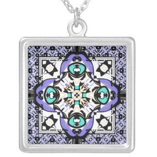 Elegant Purple and Aqua Oriental Damask Symbol Square Pendant Necklace