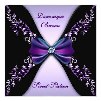 """Elegant Purple and Black Invite with Diamond Bow 5.25"""" Square Invitation Card"""