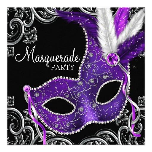 Elegant Purple and Black Masquerade Party Custom Invitations