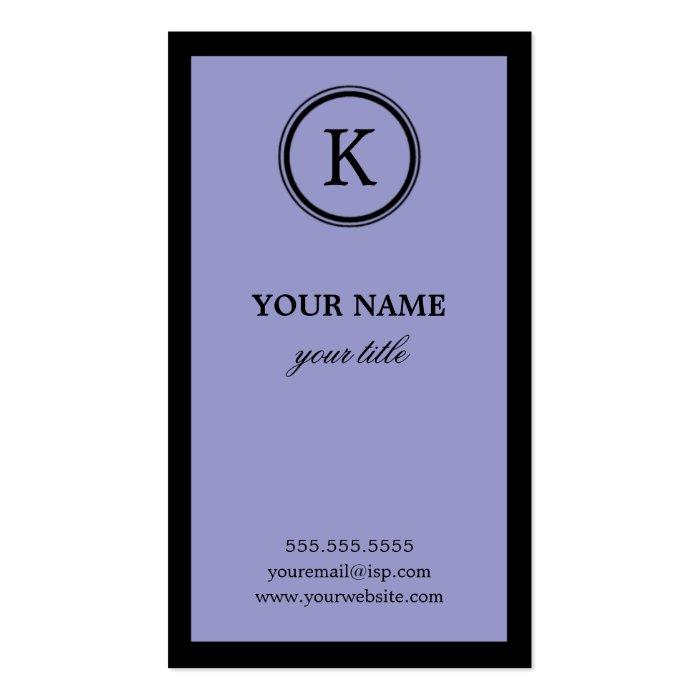 Elegant Purple and Black Monogram Business Cards