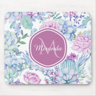 Elegant Purple and Blue Succulent Floral With Name Mouse Pad
