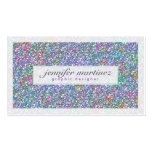 Elegant Purple And Colorful Glitter & Sparkles 3 Double-Sided Standard Business Cards (Pack Of 100)