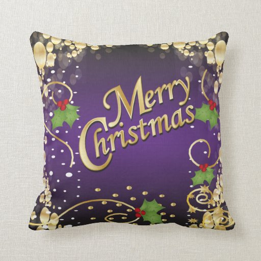Elegant Purple and Gold Christmas Pillow