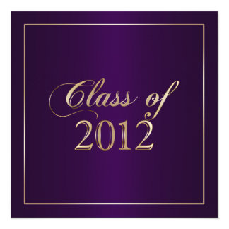 Elegant Purple and Gold Class of 2012 Invitation