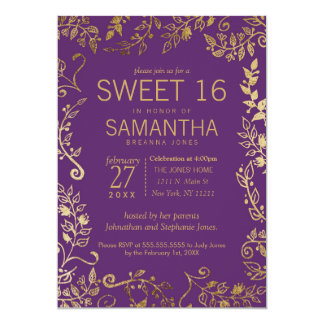 Elegant Purple and Gold Floral Sweet 16 Invite