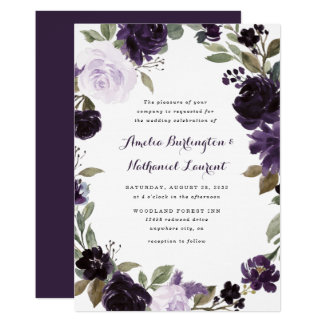 Elegant Purple and Gold Green Leaf Floral Wedding Invitation