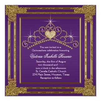 Elegant Purple and Gold Quinceanera Invitation
