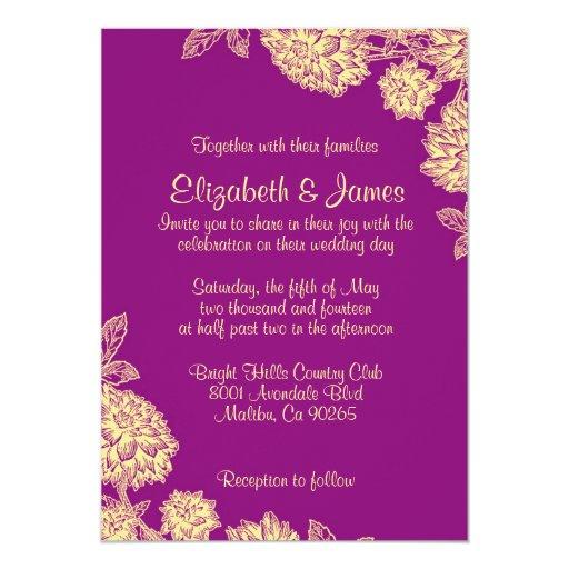 elegant purple and gold wedding invitations   zazzle, Wedding invitations