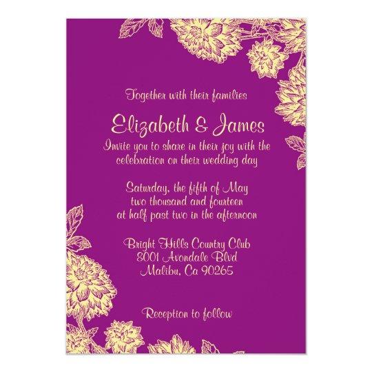 Elegant Purple Wedding Invitations: Elegant Purple And Gold Wedding Invitations
