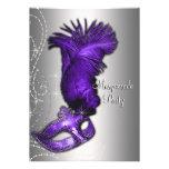 Elegant Purple and Gray Masquerade Party Invitations
