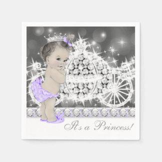 Elegant Purple and Gray Princess Baby Shower Napkin