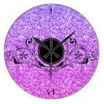 Elegant Purple And Pink Glitter Large Clock