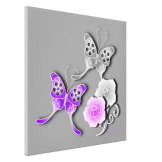 Elegant Purple And Silver Butterflies And Roses Canvas Print