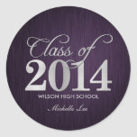 Elegant purple and silver Class of 2014 Stickers