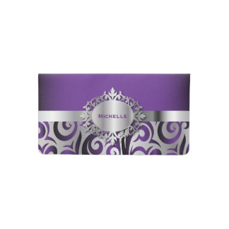 Elegant Purple and Silver Floral Checkbook Cover