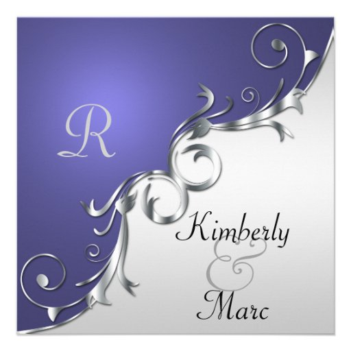 """Purple And Silver Wedding Backgrounds: Elegant Purple And Silver Wedding Invitation 5.25"""" Square"""