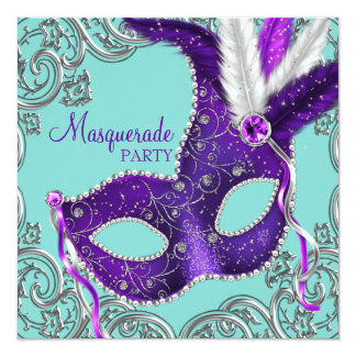 Elegant Purple and Teal Blue Masquerade Party Card