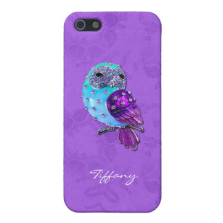 Elegant Purple and Turquoise Bejeweled Owl Case For iPhone SE/5/5s