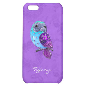 Elegant Purple and Turquoise Bejeweled Owl iPhone 5C Cases