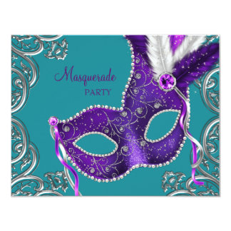 Elegant Purple and Turquoise Blue Masquerade Party Personalized Invitation