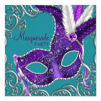 Elegant Purple and Turquoise Blue Masquerade Party Invite