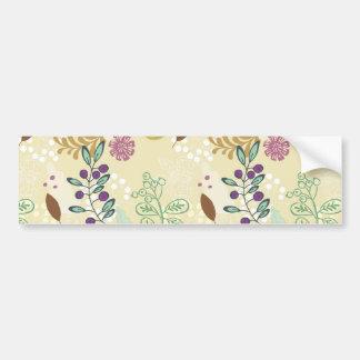 Elegant Purple and Turquoise Floral Leaf Design Bumper Stickers
