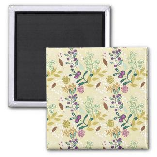 Elegant Purple and Turquoise Floral Leaf Design Magnet