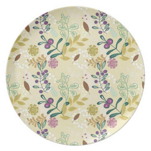 Elegant Purple and Turquoise Floral Leaf Design Dinner Plate