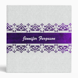Elegant Purple and White Damask Custom Binder