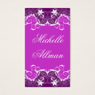Elegant Purple and White Flowers Business Card