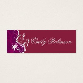 Elegant Purple and White Flowers Mini Business Card