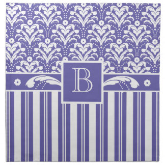 Elegant Purple and White Stiped Art Deco Damask Napkin