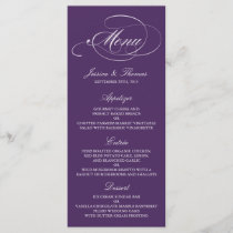Elegant Purple And White Wedding Menu Templates