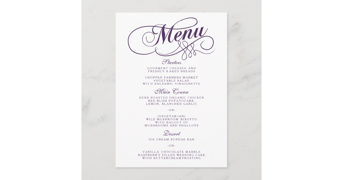 Elegant Purple And White Wedding Menu Templates Zazzle Com