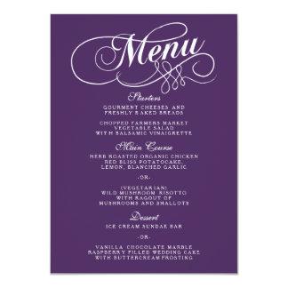 Elegant Purple And White Wedding Menu Templates Card