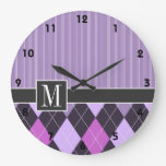 Elegant Purple Argyle Wall Clock
